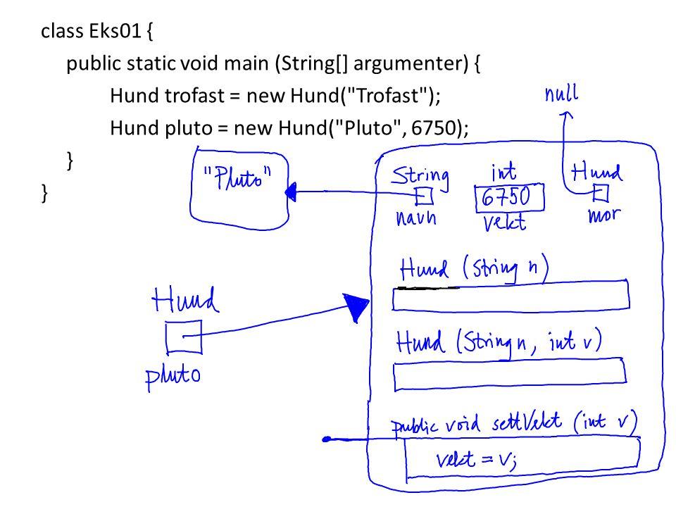 class Eks01 { public static void main (String[] argumenter) { Hund trofast = new Hund( Trofast ); Hund pluto = new Hund( Pluto , 6750); }